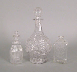 American blown molded colorless glass decanter with stopper 19th c