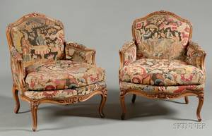 Pair of Louis XV Style Walnut and Needlepoint Upholstered Bergeres a la Reine
