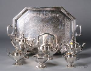 Gorham Sixpiece Sterling Tea and Coffee Set and Associated Silver Plate Tray