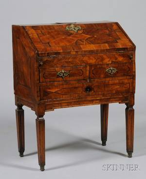 Continental Neoclassical Inlaid Walnut Slantlid Desk