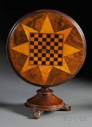 Miniature Parquetry Inlaid Tilttop Game Table