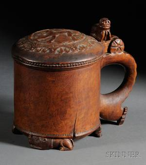 Continental Carved Fruitwood Tankard