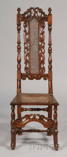 Jacobean Walnut and Caned Side Chair