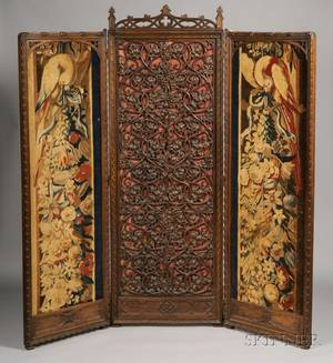 Gothic Revival Walnut and Tapestry Mounted Threepanel Floor Screen