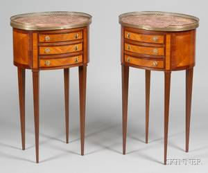 Pair of Louis XVI Style Oval Marbletop Mahogany and Tulipwood End Tables