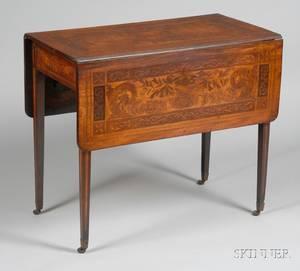 Dutch Fruitwood Inlaid Mahogany Pembroke Table