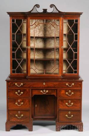 George III Carved Mahogany Breakfront Bureau Bookcase