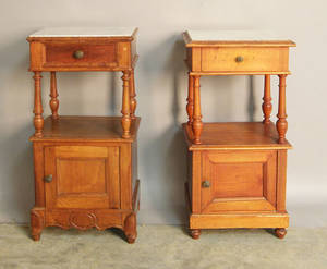 Pair of pine marble top end tables