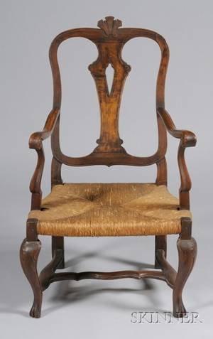 Continental Rococo Fruitwood Rush Seat Open Armchair