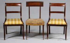 Pair of Regency Ebonyinlaid Mahogany Side Chairs and Another