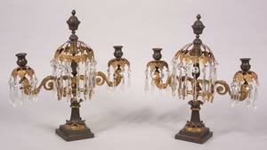 Pair of Patinated and Parcel Gilt Bronze Three Light Mantel Lustres