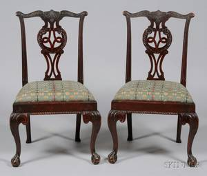 Set of Six Georgianstyle Carved Mahogany Side Chairs