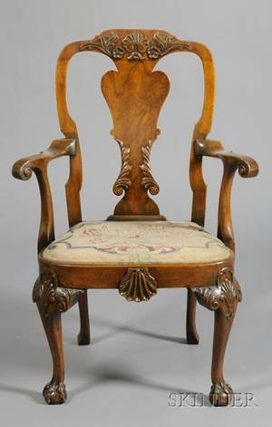 Set of Eight George III Style Carved Mahogany Dining Chairs
