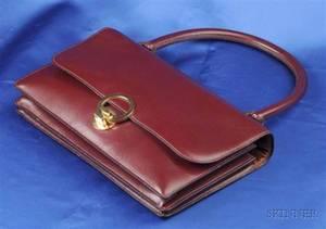 Burgundy Box Leather Handbag Hermes