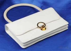 Ivory Textured Leather Handbag Hermes