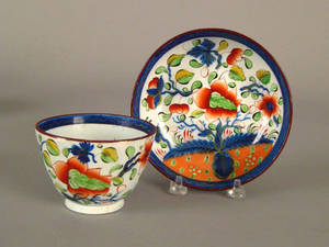 Gaudy Dutch cup and saucer 19th c