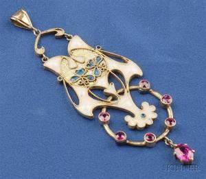Art Nouveau 14kt Gold and Enamel Pendant attributed to Oskar Huber