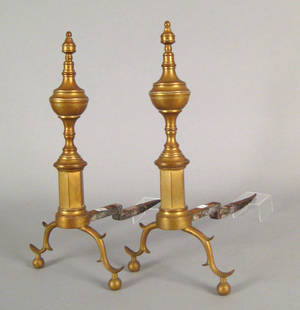 Pair of New York Federal brass andirons early 19th c