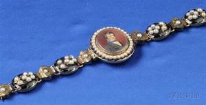 Antique 14kt Gold Seed Pearl Enamel and Diamond Memorial Bracelet