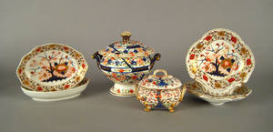 Group of Derby Imari palette porcelain 19th c