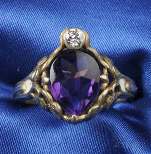 Art Nouveau 14kt Gold Amethyst and Diamond Ring Allsopp Brothers Newark