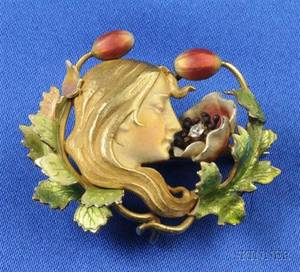 Art Nouveau 14kt Gold and Enamel Brooch attributed to Krementz  Co