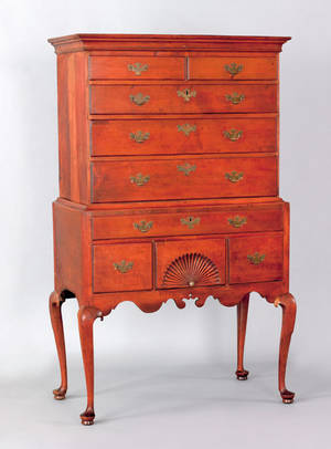 Massachusetts or New Hampshire Queen Anne maple highboy ca 1770