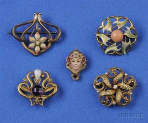 Group of Four Art Nouveau Enamel and Gemset Flower Pins