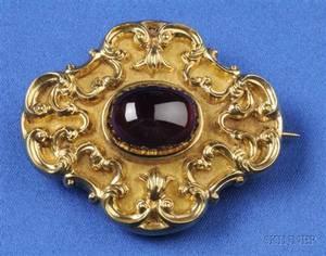 Antique 14kt Gold and Garnet PendantBrooch
