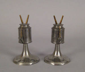 Pair of New England pewter whale oil lamps ca 1835