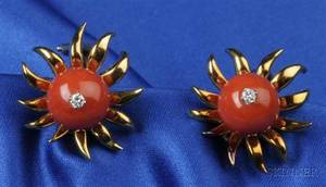 18kt Gold Coral and Diamond Earclips Tiffany  Co Schlumberger