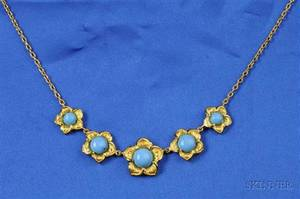 High Karat Gold and Turquoise Necklace
