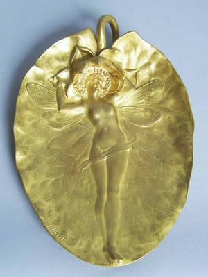 French art nouveau gilt bronze leaf dish