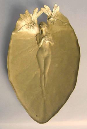 French art nouveau gilt bronze centerpiece bowl