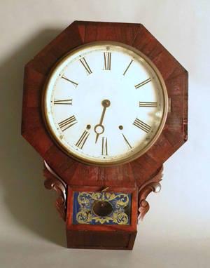 Victorian rosewood veneer wall clock