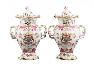 Pair of French Armorial Porcelain Potpourri Vases
