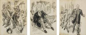James Montgomery Flagg American 18771960 Lot of Three Works We Followed Him Single File Mimicking his Strenuous Pace