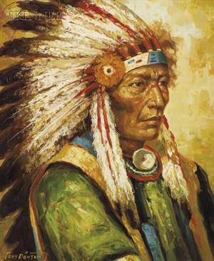 Troy Denton American 20th Century Portrait of an Indian Chief