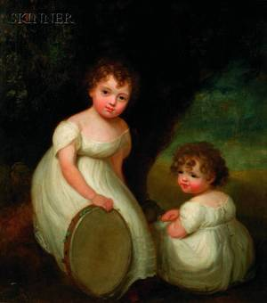 Attributed to Sir William Beechey British 17531839 The Misses Horsley Daughters of George Horsely Esq of Epsom