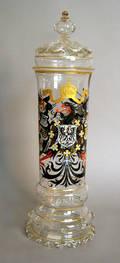 German enamel decorated glass pokal