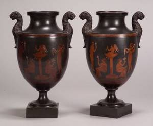 Pair of Encaustic Decorated Black Basalt Vases