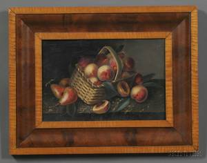 American School 19th Century Still Life of Peaches in a Basket and Pears on a Table
