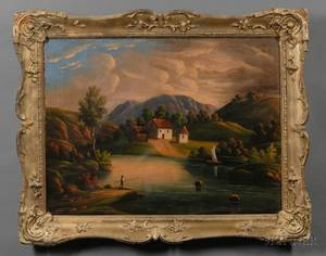 Attributed to Thomas Chambers London New York and Boston 18081866 River Valley Landscape