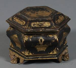 Chinese Export Gilt Lacquer Tea Caddy