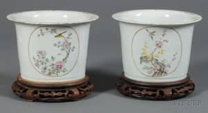 Pair of Chinese Export Porcelain Famille Rose Cachepots