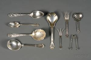 Nine Sterling Flatware Serving Pieces