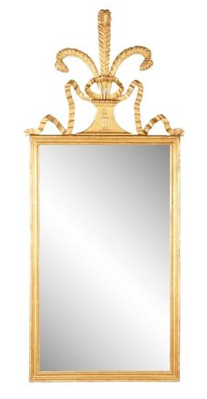 Giltwood Mirror w Prince of Wales Feather Crest