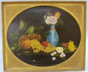 Framed 19th20th Century American School Oil on Canvas Still Life with Grapes