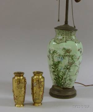 Chinese Floral Decorated Celadon Glazed VaseTable Lamp and a Pair of Japanese Mixed Metal Vases