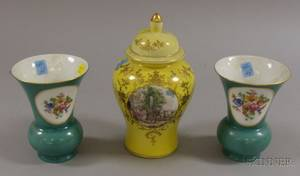 Pair of German Floral Transfer Decorated Porcelain Mantel Vases and a Continentalstyle Genre Scene Transfer De